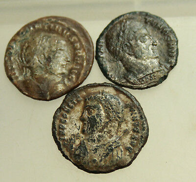 Lot of 3x  AE Roman Follis Silversud  D= 18-19mm