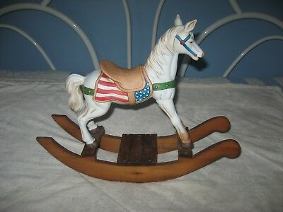 """Rocking Horse Porcelain Collectible on Wooden Base 15"""" L x 12"""" H"""