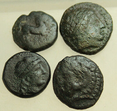 Lot of 4x Greek Bronze Coins Kingdom of Macedon,Thrace  D = 15-18mm