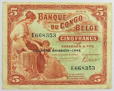 {DO631B} 1942 Belgian Congo 5 Francs