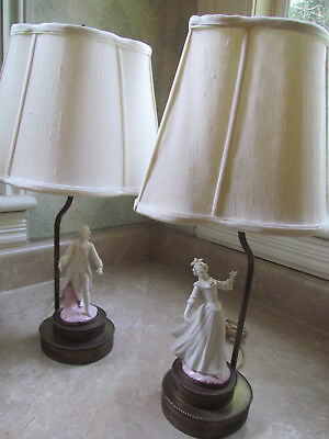 Ceramic Pair of Figurine Lamps Victorian  Man & Woman with Brass Base