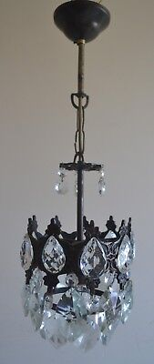 Vintage /  French Basket Style Brass& Crystals Chandelier Antique Ceiling Lamp