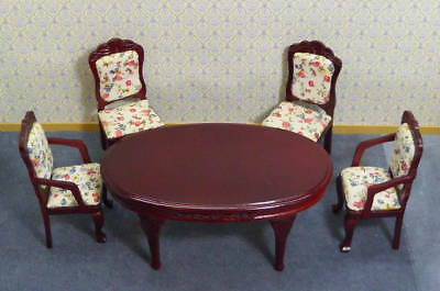 Dolls House Miniature 1:12 Scale  Dining Table & 4 Chairs With Floral Pads