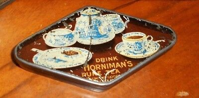 sample figural tin - Hornimans Tea miniature tray, 2oz, some scratches, c1910