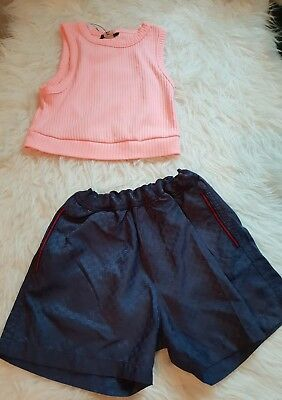 girls 7-8 years outfit river island top & gucci shorts designer bundle next day