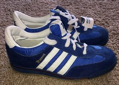 """NOS VTG YOUTH Kmart Trax Blue & White Strip Sneakers Tennis Shoes SZ Youth 2 9"""""""