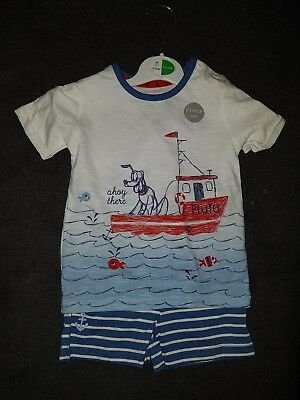 Boys 9-12 Months Disney T-shirt Shorts outfit Boat sail dog Striped Next Day
