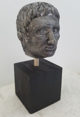 Ancient Roman Empire Emperor Augustus Antique Weathered Silver Tone Bust Statue