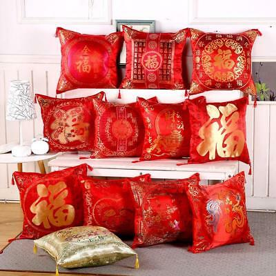 Chinese New Year Styles Red Silk Fabric Fu Word Wedding Pillows Christmas Decors