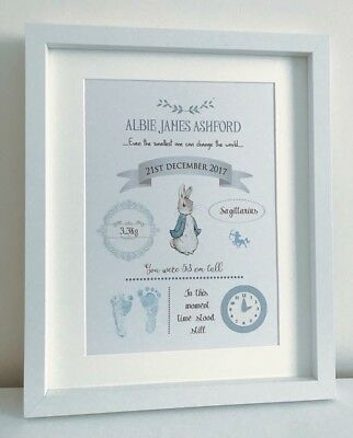 Personalised Peter Rabbit Nursery A4 Print Baby Boy New Baby Christening Gift