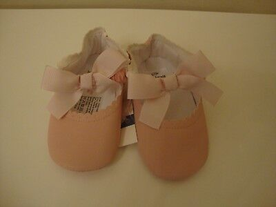Baby Girl John Lewis Pretty Pink Bow Soft Slip On Shoes -Size 6-12 Months -Bnwt