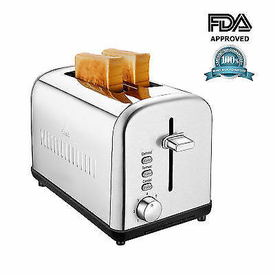 NEW Brushed Stainless Steel 2 Slice Toaster Smudgeproof With Defrost and Reheat