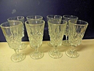 Waterford Crystal Lismore Diamond Claret Wine Glasses Set Of 8