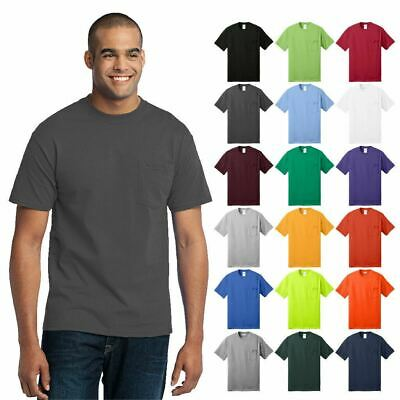 Mens Tall Pocket T-Shirt Core Blend 50/50 Cotton/Poly Short Sleeve Tee PC55PT