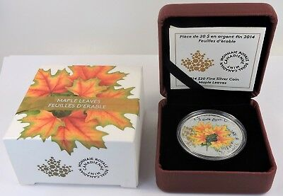 2014 $20 1oz Fine Silver Coin - Maple Leaves R.C.M w Cert of Authenticity