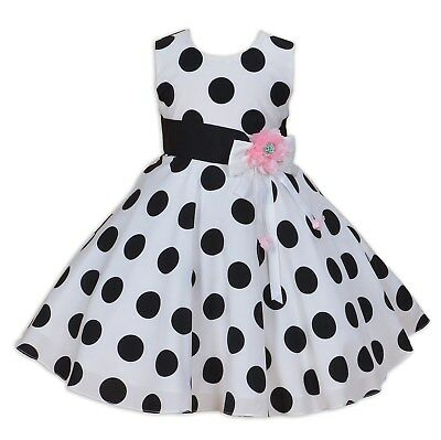 Girls 50' Style Party Dress White and Black Dotted Dress 3 4 5 6 7 8 Years