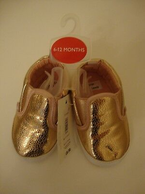 Baby Girl John Lews Rose Gold Fashion Slip On Trainers - Size 6-12 Months - Bnwt