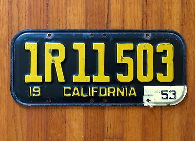 1951 California License Plate with 1953 Tag