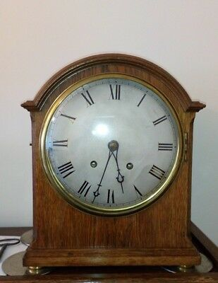 antique wintehalder & hoffmeier golden honey Oak ting tang bracket mantel clock.