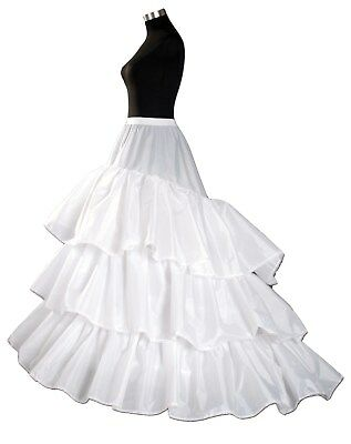 3 hoop 3 layer White Long Tail Underskirt Petticoat One Size UK Size 6 to 16