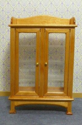 Dolls House Miniature 1:12 Scale Glazed Pine Furniture Display Cabinet