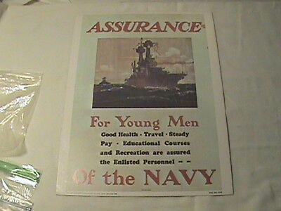 "Original U.s. Navy Recruiting Poster ""assurance For Young Men"""