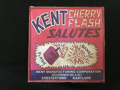 "Vintage Kent Cherry Flash Salutes Fireworks EMPTY 5"" Wide 3"" Tall"