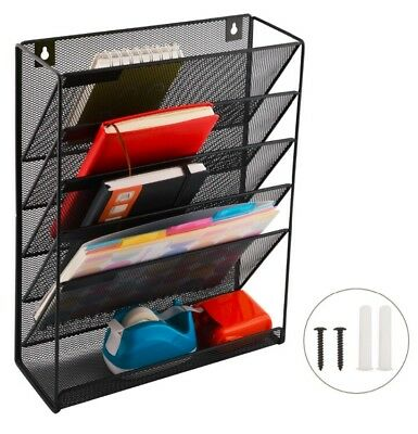 Magazine Rack Wall Hanging File Organizer Letter & Stationary Organiser 5 Trays