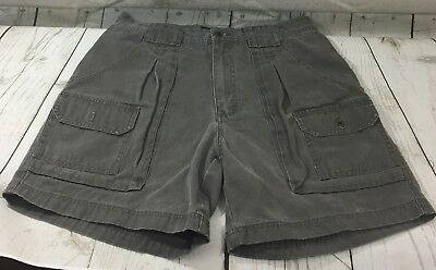Eddie Bauer Mens Gray Size 33 Pleated Front Cargo Hiking Shorts 100% Cotton EUC