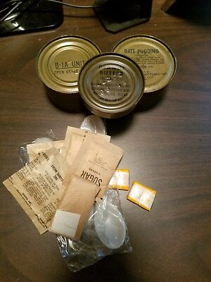 Viet Nam c-rations,B-1 unit, date pudding and peanut butter, and morecirca1967