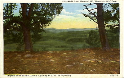 View of Sherman Hill highest point on Lincoln Highway US 30 Wyoming WY 1930s