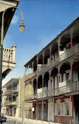Royal Street New Orleans Louisiana LA lace balconies Creole architecture~1960s