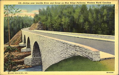 Linville River and Gorge bridge Blue Ridge Parkway western North Carolina~1930s