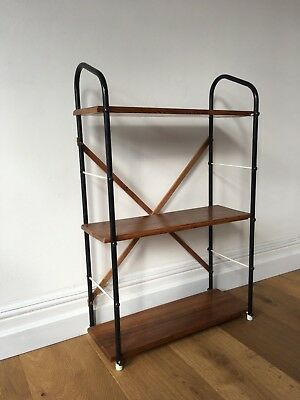 Vintage Modular Shelving System - Bookcase Wood Metal Shelf Retro
