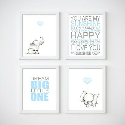 Elephant Nursery Room Decor, Kids Wall Prints, Blue, Pink, Lavendar and Mint
