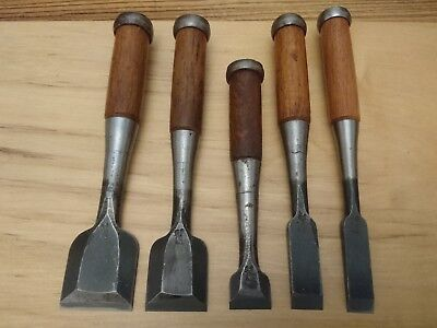 Set of 5 used Japanese bench chisels