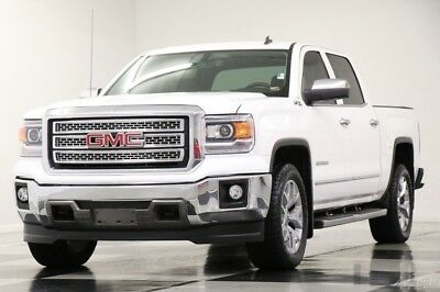 GMC Sierra 1500 4X4 SLT Leather Summit White Crew Cab 4WD Used Heated Cocoa Seats Camera Bluetooth 15 16 Bench 6 Passenger 15 16 2015 14