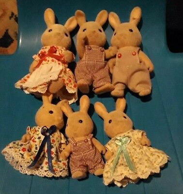 Sylvanian families 6 grey rabbits various sizes