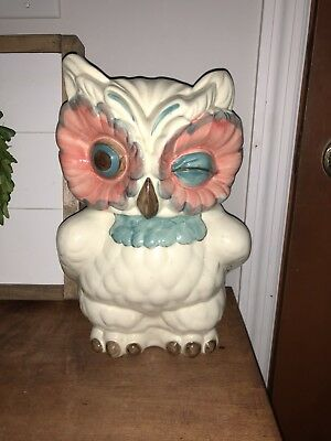 ANTHROPOLOGIE Winking Nola Wise Owl Shawnee Retro Cookie Jar Canister Sold Out