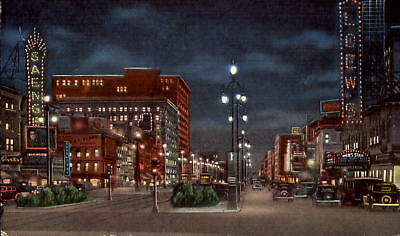 Canal Street at night New Orleans Louisiana LA ~ 1940s