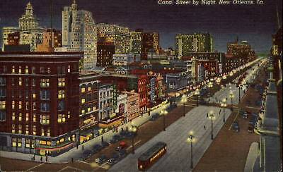 Canal Street at night New Orleans Louisiana LA trolley ~ 1940s