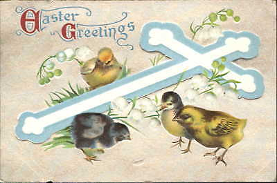 Easter Celtic cross blue white lily of valley chicks black yellow mailed c1910