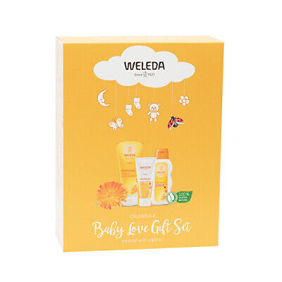Weleda Baby Calendula Care Gift Pack (Shampoo & Body Wash, Nappy Change Cream &