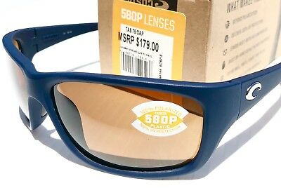 28b37d9ada NEW  Costa TASMAN Sea Matte Blue POLARIZED 580P AMBER lens Sunglass TAS 75  OAP