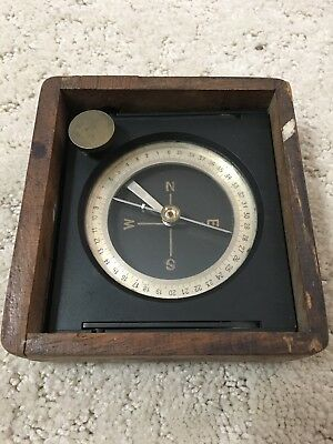 Antique Swiss Stoppani Brass Artillery Survey Compass in Wood Box, WWI Military