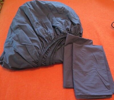Parachute Cotton Percale Fitted Sheet/Pillowcase Set - Queen - Navy - Ex Cond.