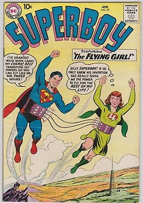 "Superboy # 72 ""the Flying Girl"" April 1959 Vf+"