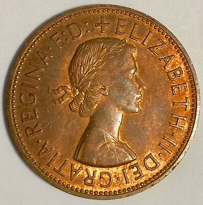 1965 GREAT BRITAIN 1 PENNY Large Cent Red Brown MS BU Queen Elizabeth KM#897