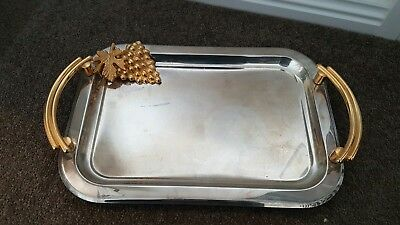 Silver Tray With Gold Handles