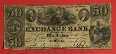 "1853 $50 US EXCHANGE BANK LARGE SIZE Currency ""NORFOLK, Virginia""!"